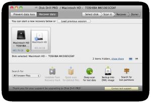 Disk Drill - hlavní obrazovka